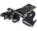 DEXLAN Carte PCI 4 p.serie DB9+1 p.parallèle Std+Low Profile