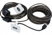 Plastron 45 x 45 avec câble USB amplifié coudé - 10 m