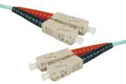 Jarretière optique duplex multimode OM3 50/125 SC-UPC/SC-UPC aqua - 0,5 m