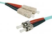 Jarretière optique duplex multimode OM4 50/125 SC-UPC/ST-UPC aqua - 1 m
