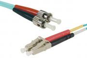 Jarretière optique duplex multimode OM3 50/125 LC-UPC/ST-UPC aqua - 15 m
