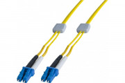 Jarretière à repérage lumineux duplex OS2 9/125 LC-UPC/LC-UPC jaune - 1 m